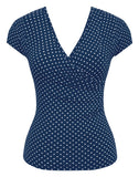 Bombshell Polka Dot Top in Navy