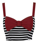 Pin Me Up Striped Crop Top in Red