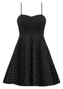 Black Rockabilly Polka Dot Dress with Petticoat