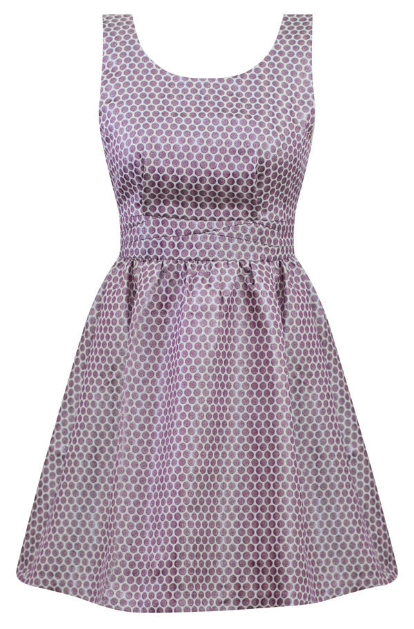 Retro Holiday Dress in Lavender Metallic Polka Dots