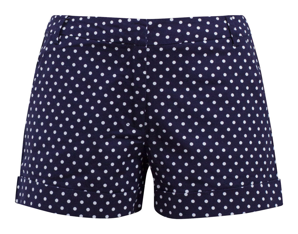 Navy Blue Polka Dot Cuffed Shorts