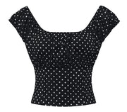 Polka Dot Peasant Top in Black