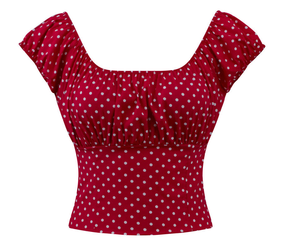 Polka Dot Peasant Top in Red