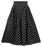 Polka Dot Swing Skirt with Stretch Waist in Black