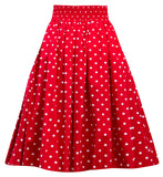 Polka Dot Swing Skirt with Stretch Waist in Red