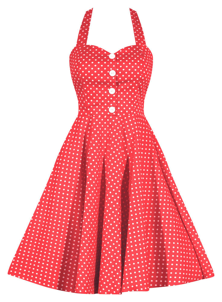 a4b8a0fc4c4 Retro Gal Polka Dot Halter Swing Dress - Coral – Double Trouble Apparel