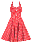 Retro Gal Polka Dot Halter Swing Dress - Coral