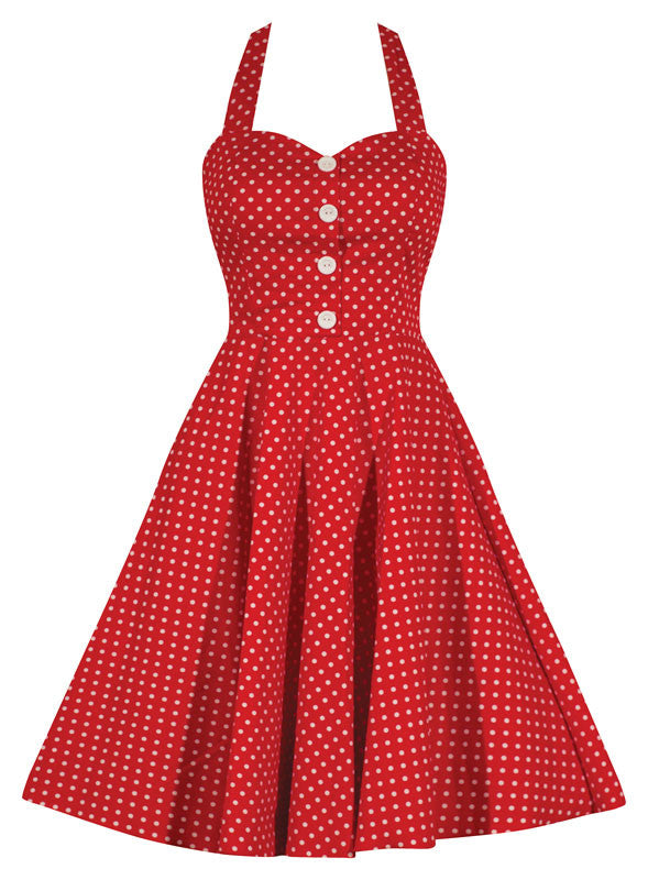 Retro Gal Polka Dot Halter Swing Dress - Red