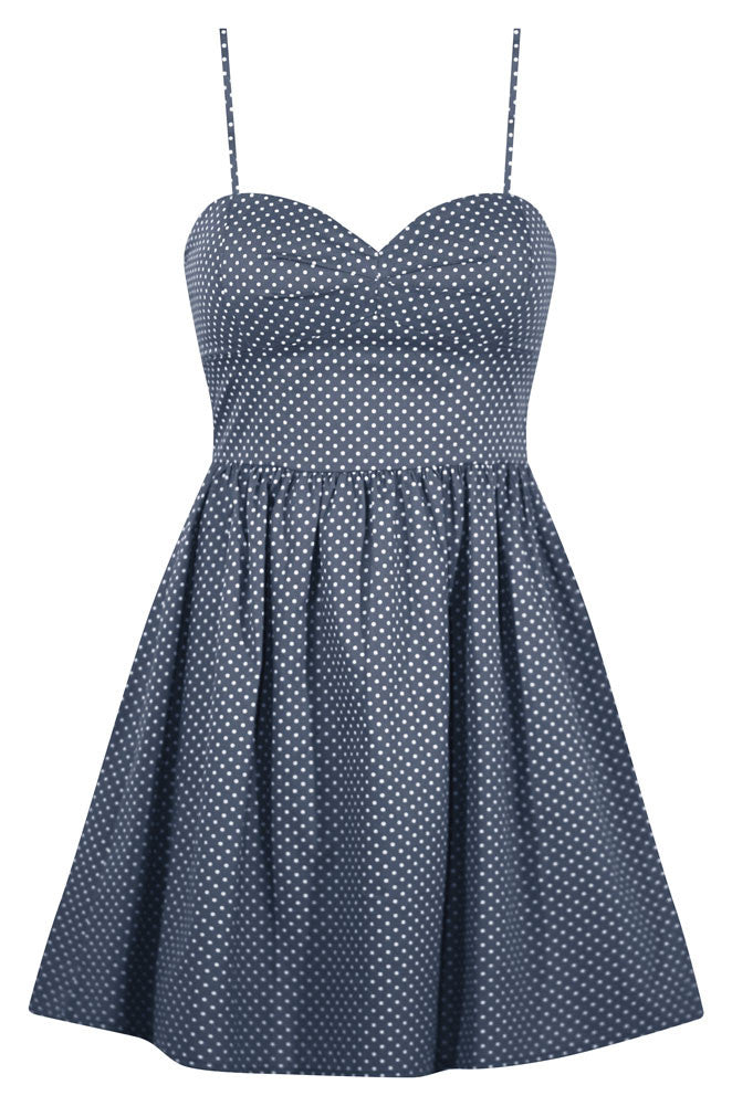 Polka Dot Sweetie Dress in Navy Chambray