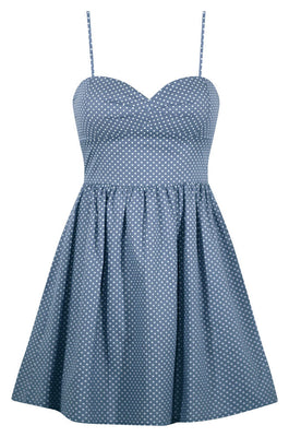 Polka Dot Sweetie Dress in Light Blue Chambray - FINAL SALE