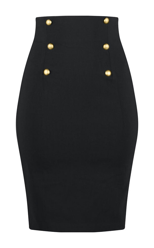 1781db26697 ... Retro Glam High Waisted Pin Up Pencil Skirt in Black