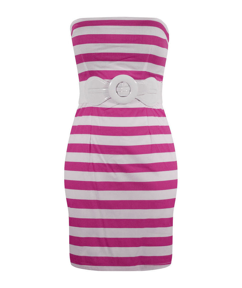Retro Inspired Stripe Dress - Fuchsia