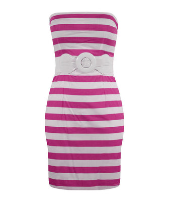Retro Inspired Stripe Dress - Fuchsia Pink - FINAL SALE