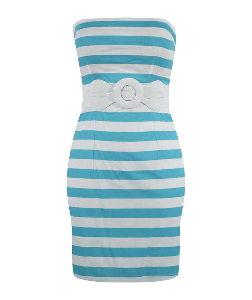 Retro Inspired Stripe Dress - Turquoise