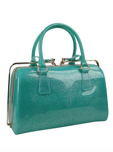 Retro Slide Lock Handbag in Mint Green Glitter