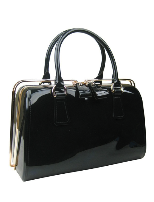 Retro Slide Lock Handbag in Black Patent