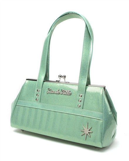 Lux De Ville Starlite Kiss Lock in Baby Green Sparkle