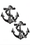 Anchor and Rope Stud Earring in Pewter