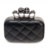 Quilted Skull Knuckle Clutch with Crossbody Chain Strap