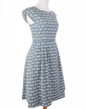 Devonshire Dress in Blue Fans by Mata Traders