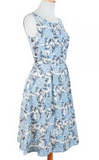 Vintage Spirit Roses Dress in Blue by Mata Traders