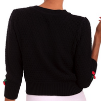 Black Cherry Knit Cardigan Sweater
