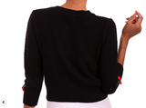 Cherry Knit Cardigan Sweater in Black