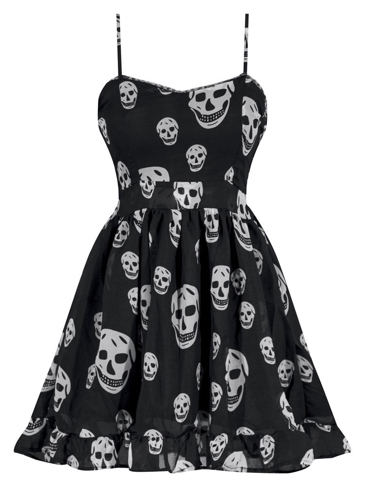 Miss Poison Skull Chiffon Dress