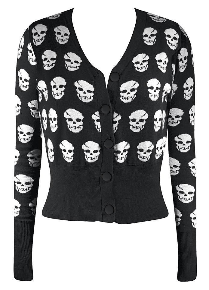 Riot Riot Skull Cardigan in Black