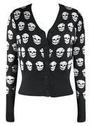 Skull Cardigan Button Up Sweater in Black and white. Punk girl womens pinup rockabilly style.