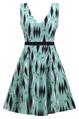 Retro Diamonds Twinkletoes Dress in Mint by Sourpuss