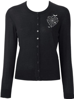 Batty Web Heart Cardigan in Black