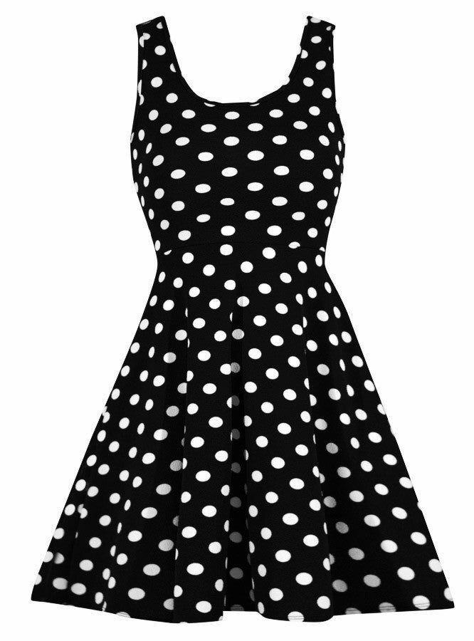 36e7a21f5be Stretchy Polka Dot Dress in Black – Double Trouble Apparel