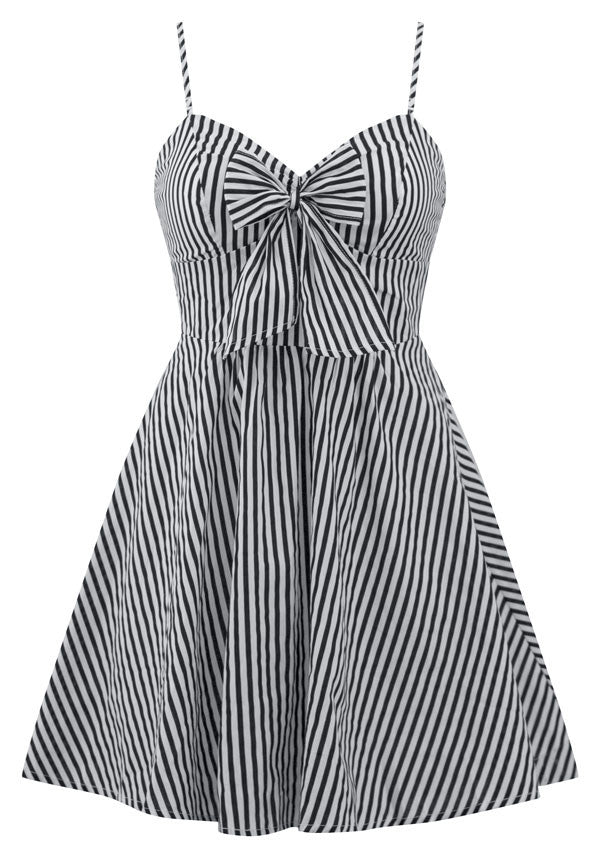 Retro Doll Striped Dress in Black & White