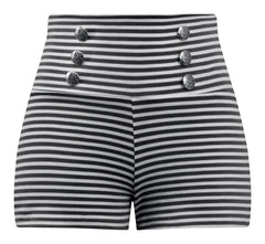 Sailor Striped Shorts in Black (Thin Stripe)