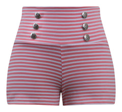 Sailor Girl Striped Shorts in Coral Pink