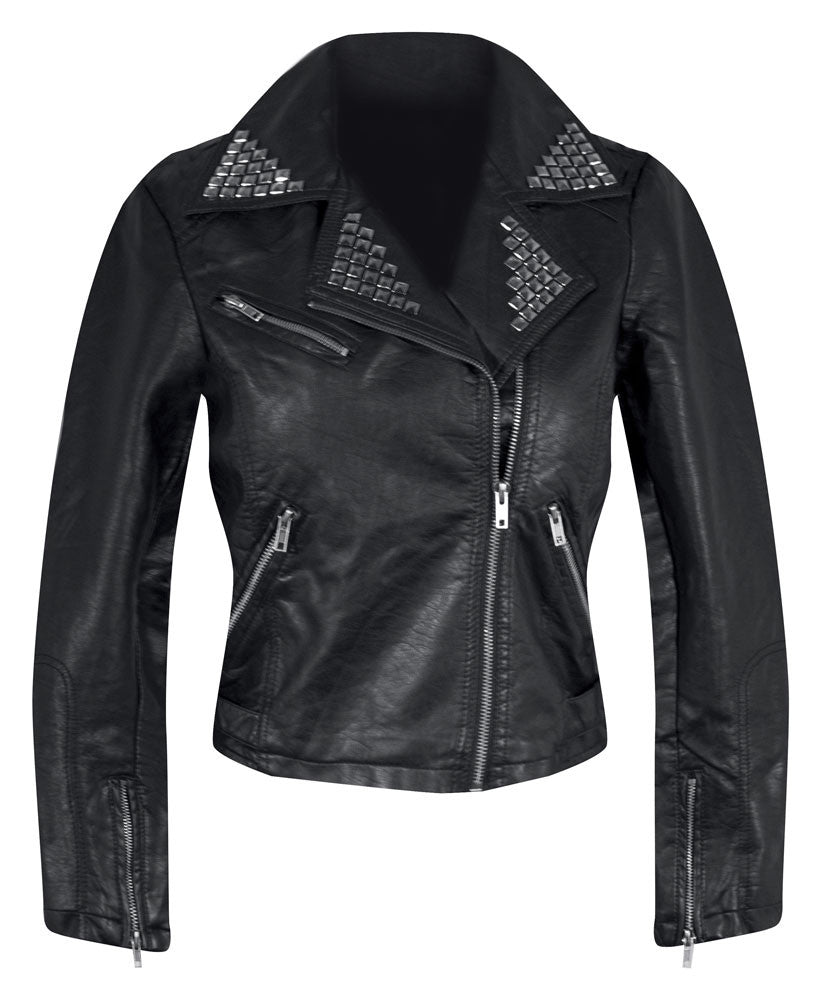 Studded Faux Leather Moto Jacket in Black