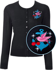 Classic Swallow & Anchor Starburst Cardigan in Black