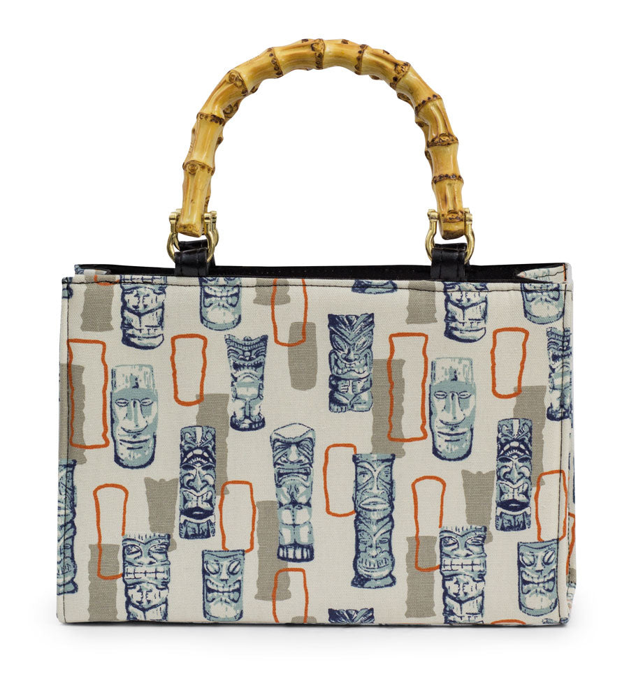 Retro Tiki Bamboo Handle Handbag in Orange
