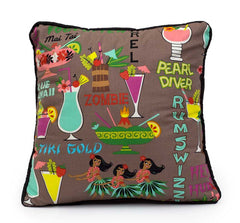 Rum Swizzle Tiki Bar Cocktail Pillow