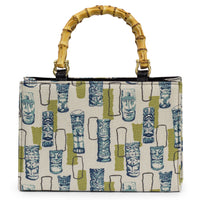 Green Retro Tiki Bamboo Handle Handbag