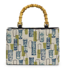 Retro Tiki Bamboo Handle Handbag