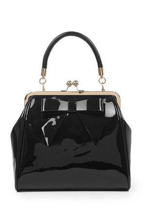 Vintage Style Patent Kisslock Handbag in Black