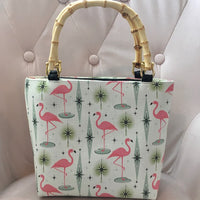 Atomic Flamingo Bamboo Handbag