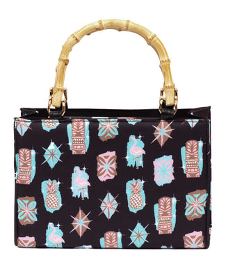 Retro Starburst Atomic Tiki Bamboo Box Handbag