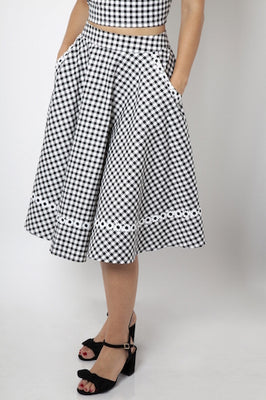Retro Daisy Gingham Swing Skirt with Pockets