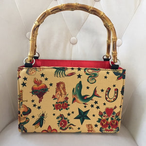 Bamboo box Handbag in Traditional Tan Tattoo Print