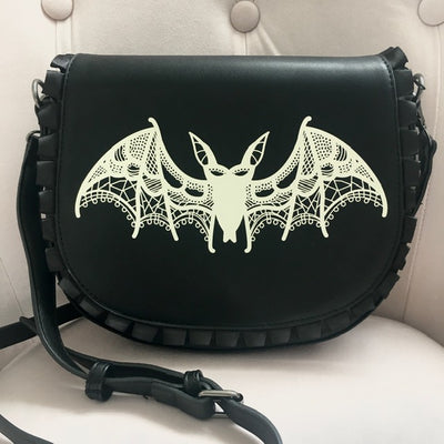 Lacy Bat Crossbody Purse in Black