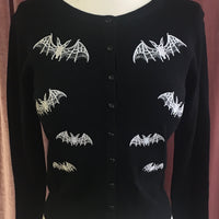 Black Lacy Bat Embroidered Cardigan