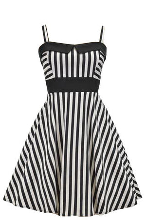 Black and White Striped Retro Swing Dress